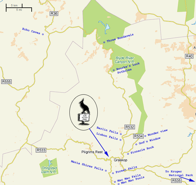 Map of Graskop and surrounding area